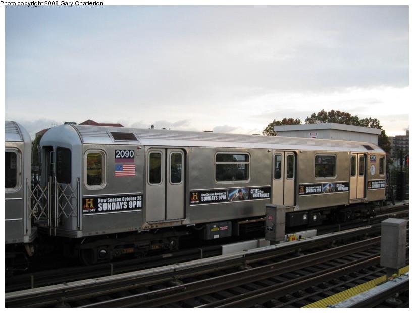 (104k, 820x620)<br><b>Country:</b> United States<br><b>City:</b> New York<br><b>System:</b> New York City Transit<br><b>Line:</b> IRT Flushing Line<br><b>Location:</b> 69th Street/Fisk Avenue <br><b>Route:</b> 7<br><b>Car:</b> R-62A (Bombardier, 1984-1987)  2090 <br><b>Photo by:</b> Gary Chatterton<br><b>Date:</b> 10/29/2008<br><b>Viewed (this week/total):</b> 1 / 1391