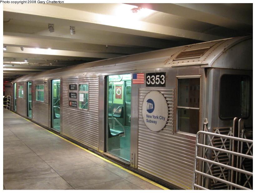(139k, 820x620)<br><b>Country:</b> United States<br><b>City:</b> New York<br><b>System:</b> New York City Transit<br><b>Location:</b> New York Transit Museum<br><b>Car:</b> R-32 (Budd, 1964)  3353 <br><b>Photo by:</b> Gary Chatterton<br><b>Date:</b> 11/19/2008<br><b>Viewed (this week/total):</b> 1 / 2109