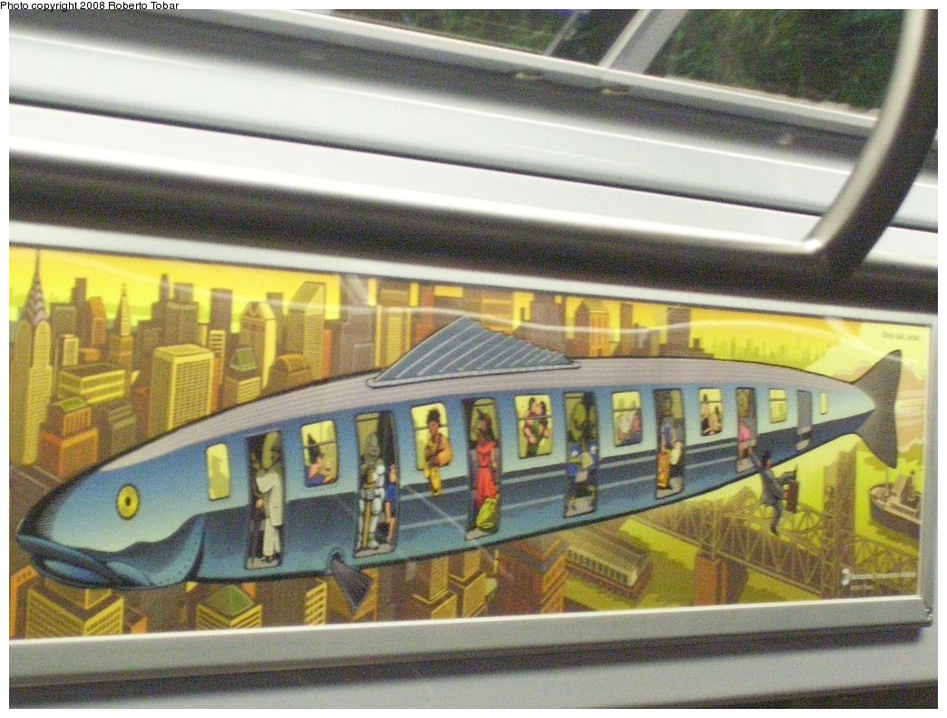 (225k, 1044x791)<br><b>Country:</b> United States<br><b>City:</b> New York<br><b>System:</b> New York City Transit<br><b>Car:</b> R-160B (Kawasaki, 2005-2008)  8959 <br><b>Photo by:</b> Roberto C. Tobar<br><b>Date:</b> 12/3/2008<br><b>Artwork:</b> <i>In Flight</i>, Chris Gall (2008).<br><b>Viewed (this week/total):</b> 5 / 3098