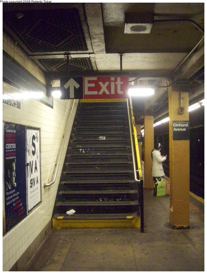 (217k, 791x1044)<br><b>Country:</b> United States<br><b>City:</b> New York<br><b>System:</b> New York City Transit<br><b>Line:</b> IND Queens Boulevard Line<br><b>Location:</b> Elmhurst Avenue <br><b>Photo by:</b> Roberto C. Tobar<br><b>Date:</b> 12/20/2008<br><b>Viewed (this week/total):</b> 7 / 1659