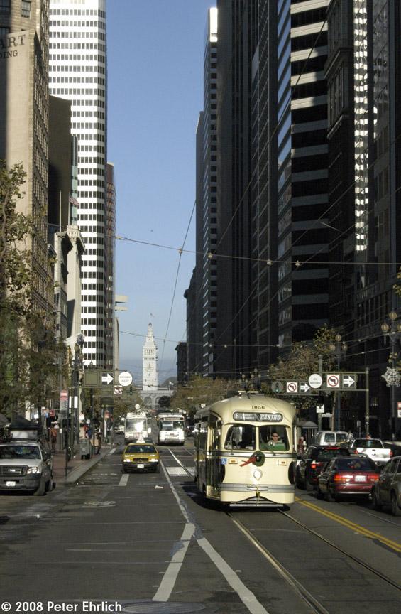(204k, 565x864)<br><b>Country:</b> United States<br><b>City:</b> San Francisco/Bay Area, CA<br><b>System:</b> SF MUNI<br><b>Location:</b> Market/3rd/Geary/Kearny <br><b>Car:</b> SF MUNI PCC (Ex-SEPTA) (St. Louis Car Co., 1947-1948)  1056 <br><b>Photo by:</b> Peter Ehrlich<br><b>Date:</b> 12/2/2008<br><b>Notes:</b> Outbound.<br><b>Viewed (this week/total):</b> 0 / 297