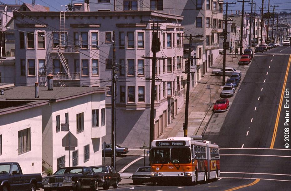 (243k, 930x612)<br><b>Country:</b> United States<br><b>City:</b> San Francisco/Bay Area, CA<br><b>System:</b> SF MUNI<br><b>Line:</b> SF MUNI Trolley Coach Routes<br><b>Car:</b> SF MUNI Trolley Coach (Flyer E60, 1992-94) 7004 <br><b>Photo by:</b> Peter Ehrlich<br><b>Date:</b> 8/20/1994<br><b>Notes:</b> New New Flyer E60 artic trolleycoach. Line 31-Balboa outbound at Balboa & 23rd.<br><b>Viewed (this week/total):</b> 1 / 824