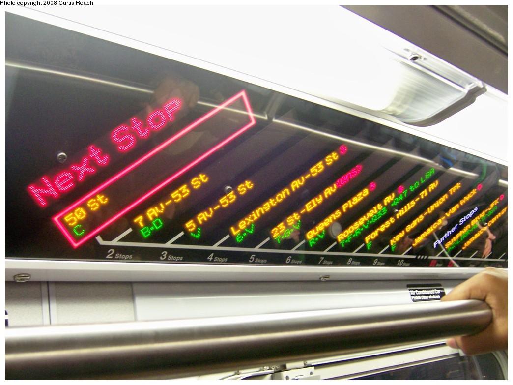 (198k, 1044x783)<br><b>Country:</b> United States<br><b>City:</b> New York<br><b>System:</b> New York City Transit<br><b>Route:</b> E<br><b>Car:</b> R-160A (Option 1) (Alstom, 2008-2009, 5 car sets)  9240 <br><b>Photo by:</b> Curtis Roach<br><b>Date:</b> 12/22/2008<br><b>Notes:</b> FIND display on E train. First day of service on E.<br><b>Viewed (this week/total):</b> 0 / 2105