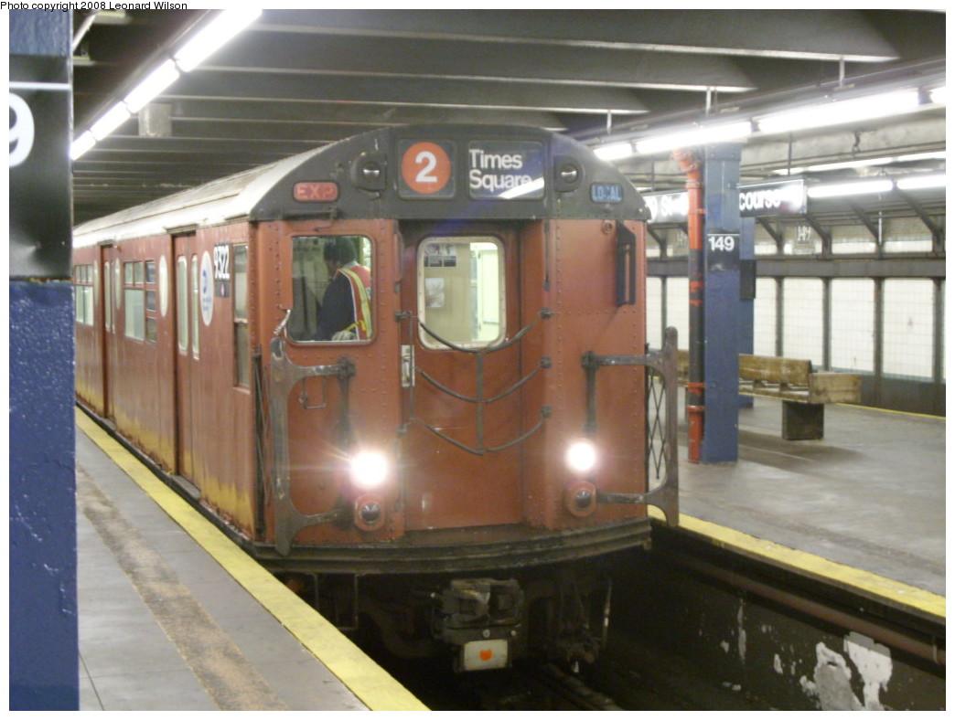(221k, 1044x788)<br><b>Country:</b> United States<br><b>City:</b> New York<br><b>System:</b> New York City Transit<br><b>Line:</b> IRT Woodlawn Line<br><b>Location:</b> 149th Street/Grand Concourse <br><b>Route:</b> Work Service<br><b>Car:</b> R-33 World's Fair (St. Louis, 1963-64) 9322 <br><b>Photo by:</b> Leonard Wilson<br><b>Date:</b> 12/11/2008<br><b>Viewed (this week/total):</b> 4 / 2909