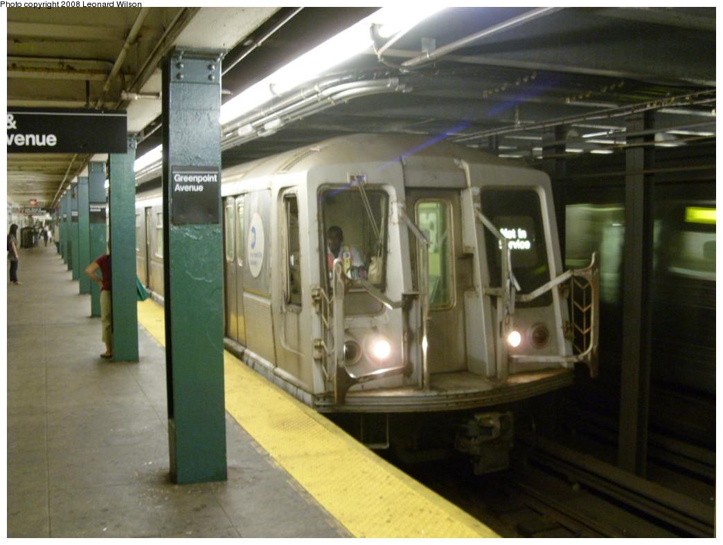 (223k, 1044x788)<br><b>Country:</b> United States<br><b>City:</b> New York<br><b>System:</b> New York City Transit<br><b>Line:</b> IND Crosstown Line<br><b>Location:</b> Greenpoint Avenue <br><b>Route:</b> Work Service<br><b>Car:</b> R-40 (St. Louis, 1968)   <br><b>Photo by:</b> Leonard Wilson<br><b>Date:</b> 8/15/2008<br><b>Viewed (this week/total):</b> 0 / 2356