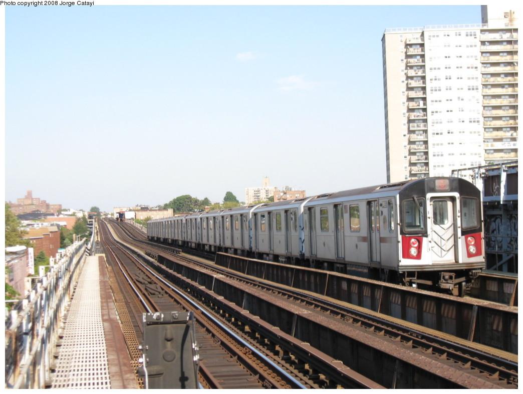 (199k, 1044x788)<br><b>Country:</b> United States<br><b>City:</b> New York<br><b>System:</b> New York City Transit<br><b>Line:</b> IRT Pelham Line<br><b>Location:</b> Morrison/Soundview Aves. <br><b>Route:</b> 6<br><b>Car:</b> R-142A (Primary Order, Kawasaki, 1999-2002)  7455 <br><b>Photo by:</b> Jorge Catayi<br><b>Date:</b> 9/21/2008<br><b>Viewed (this week/total):</b> 4 / 1623