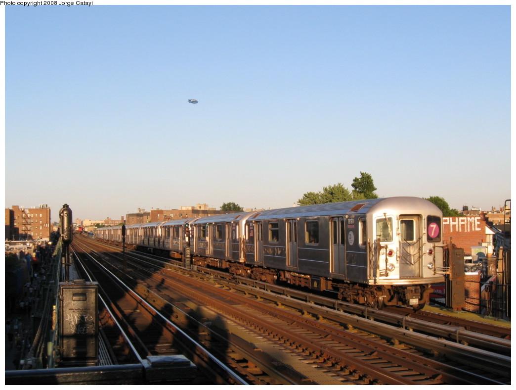 (172k, 1044x788)<br><b>Country:</b> United States<br><b>City:</b> New York<br><b>System:</b> New York City Transit<br><b>Line:</b> IRT Flushing Line<br><b>Location:</b> 82nd Street/Jackson Heights <br><b>Route:</b> 7<br><b>Car:</b> R-62A (Bombardier, 1984-1987)  1690 <br><b>Photo by:</b> Jorge Catayi<br><b>Date:</b> 8/31/2008<br><b>Viewed (this week/total):</b> 0 / 1091
