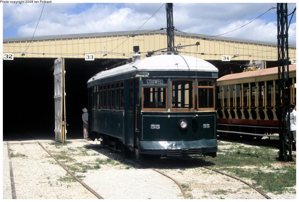 (266k, 1044x704)<br><b>Country:</b> Canada<br><b>City:</b> Toronto<br><b>System:</b> Halton County Radial Railway <br><b>Photo by:</b> Ian Folkard<br><b>Date:</b> 7/10/2004<br><b>Notes:</b> ex Toronto Civic car 55 at the West End carbarn.<br><b>Viewed (this week/total):</b> 0 / 699