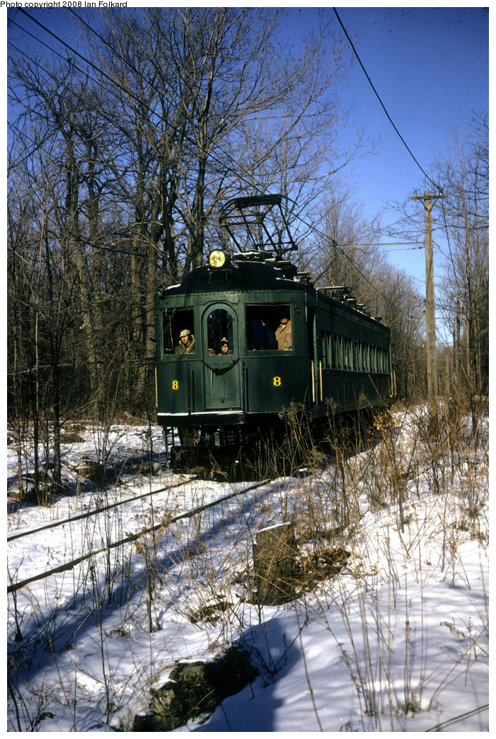 (411k, 701x1044)<br><b>Country:</b> Canada<br><b>City:</b> Toronto<br><b>System:</b> Halton County Radial Railway <br><b>Photo by:</b> Ian Folkard<br><b>Date:</b> 2/1974<br><b>Notes:</b> London and Port Stanley 8 approaching the West End, Winter Members Day.<br><b>Viewed (this week/total):</b> 0 / 587