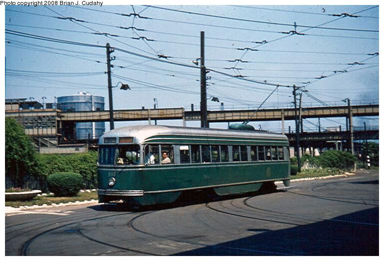 (181k, 768x523)<br><b>Country:</b> United States<br><b>City:</b> New York<br><b>System:</b> Brooklyn & Queens Transit<br><b>Line:</b> 68/Coney Island Ave. <br><b>Location:</b> West 5th St. Depot <br><b>Car:</b> Brooklyn & Queens Transit PCC (St. Louis Car, 1936)  1015 <br><b>Photo by:</b> Brian J. Cudahy<br><b>Date:</b> 1954<br><b>Notes:</b> PCC on Coney Island Avenue Line enters West Fifth Street Depot.<br><b>Viewed (this week/total):</b> 1 / 1133