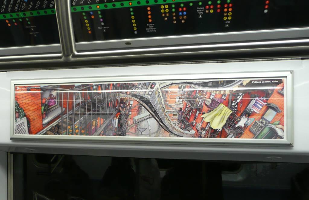 (90k, 1024x661)<br><b>Country:</b> United States<br><b>City:</b> New York<br><b>System:</b> New York City Transit<br><b>Car:</b>  Interior <br><b>Photo by:</b> Robbie Rosenfeld<br><b>Date:</b> 12/16/2008<br><b>Artwork:</b> <i>Fire Escape</i>, Philippe Lechien (2008).<br><b>Viewed (this week/total):</b> 5 / 3184