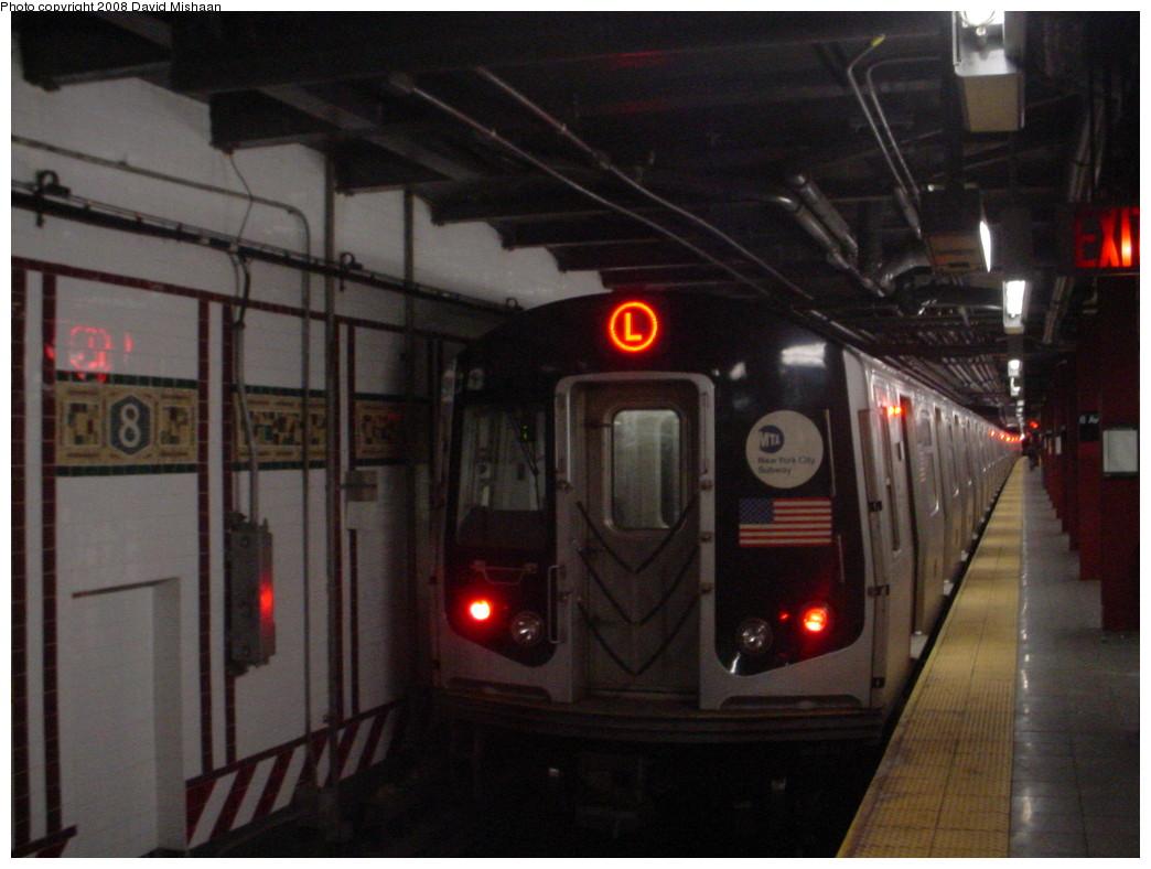 (186k, 1044x788)<br><b>Country:</b> United States<br><b>City:</b> New York<br><b>System:</b> New York City Transit<br><b>Line:</b> BMT Canarsie Line<br><b>Location:</b> 8th Avenue <br><b>Route:</b> L<br><b>Car:</b> R-143 (Kawasaki, 2001-2002) 8232 <br><b>Photo by:</b> David M. <br><b>Date:</b> 12/26/2008<br><b>Viewed (this week/total):</b> 2 / 1708