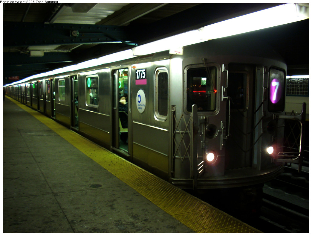 (214k, 1044x788)<br><b>Country:</b> United States<br><b>City:</b> New York<br><b>System:</b> New York City Transit<br><b>Line:</b> IRT Flushing Line<br><b>Location:</b> 40th Street/Lowery Street <br><b>Route:</b> 7<br><b>Car:</b> R-62A (Bombardier, 1984-1987)  1775 <br><b>Photo by:</b> Zach Summer<br><b>Date:</b> 12/23/2008<br><b>Viewed (this week/total):</b> 0 / 1609