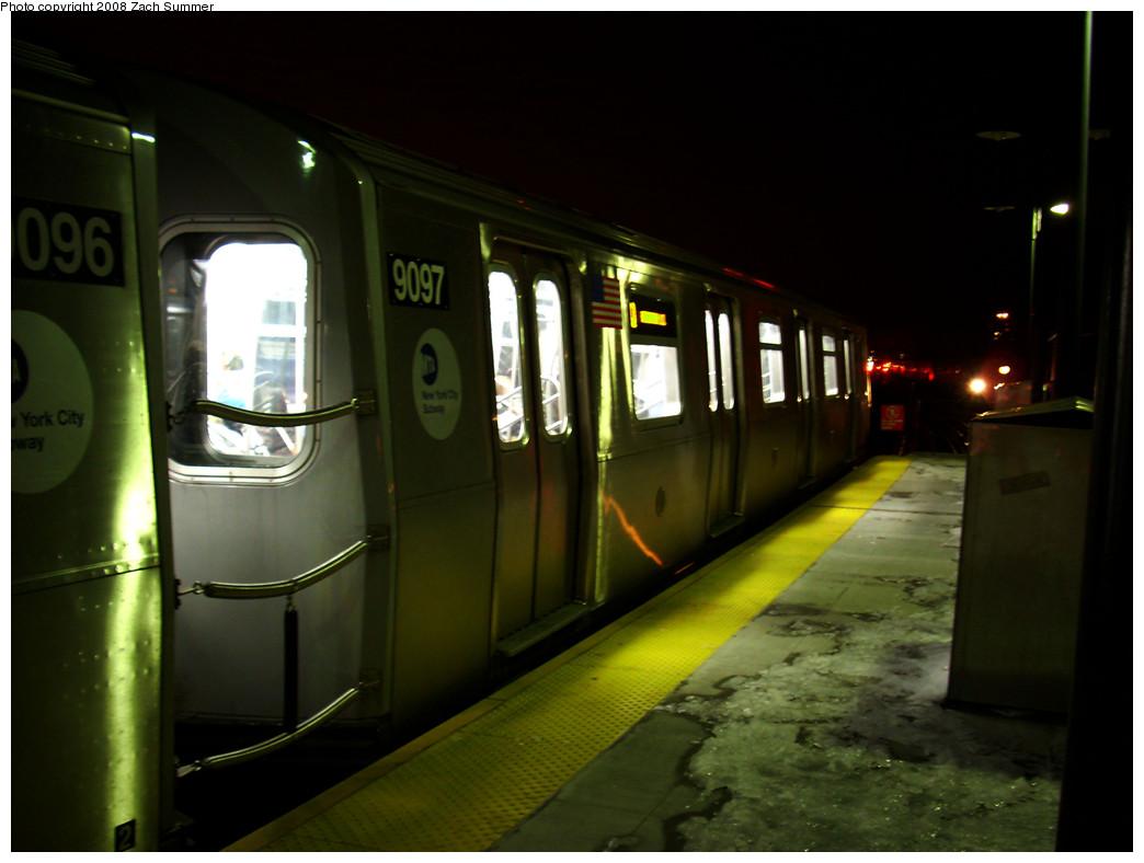 (188k, 1044x788)<br><b>Country:</b> United States<br><b>City:</b> New York<br><b>System:</b> New York City Transit<br><b>Line:</b> BMT Brighton Line<br><b>Location:</b> Ocean Parkway <br><b>Route:</b> Q<br><b>Car:</b> R-160B (Option 1) (Kawasaki, 2008-2009)  9097 <br><b>Photo by:</b> Zach Summer<br><b>Date:</b> 12/23/2008<br><b>Viewed (this week/total):</b> 0 / 1820