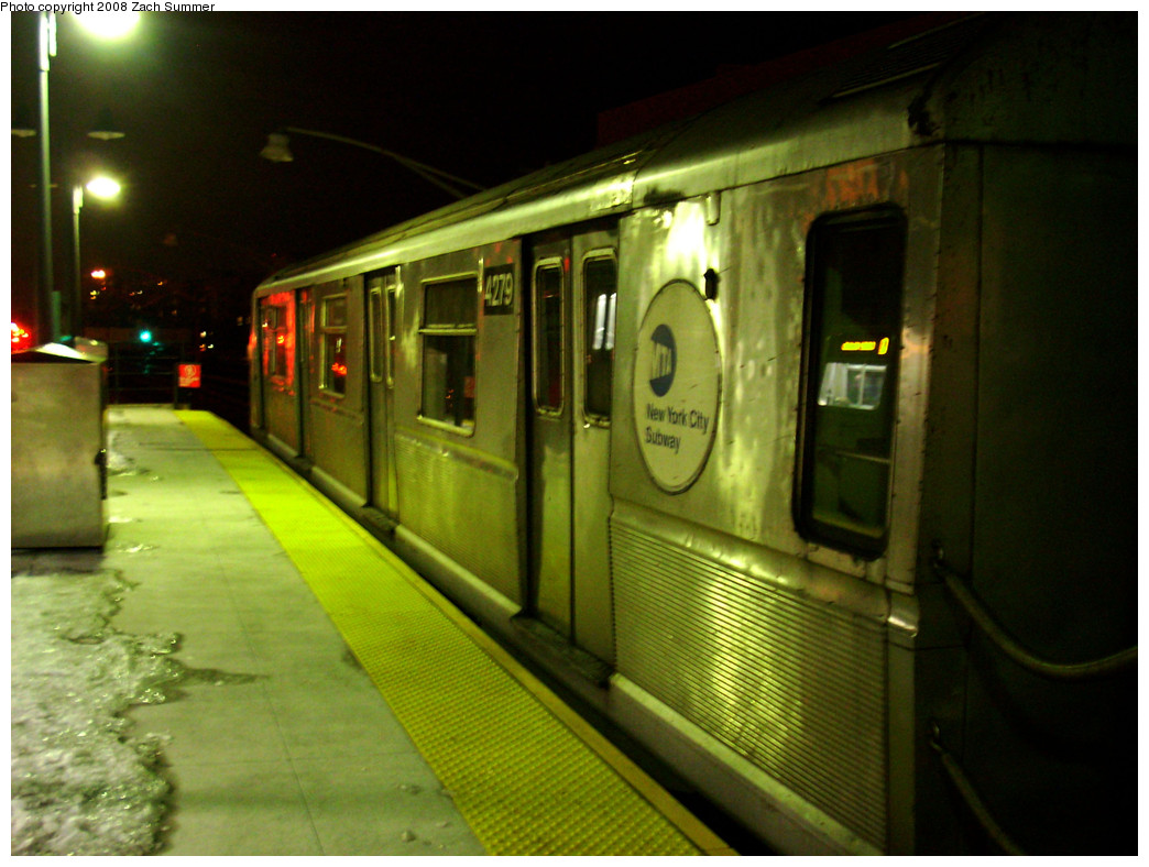 (261k, 1044x788)<br><b>Country:</b> United States<br><b>City:</b> New York<br><b>System:</b> New York City Transit<br><b>Line:</b> BMT Brighton Line<br><b>Location:</b> Ocean Parkway <br><b>Route:</b> B yard move<br><b>Car:</b> R-40 (St. Louis, 1968)  4279 <br><b>Photo by:</b> Zach Summer<br><b>Date:</b> 12/23/2008<br><b>Viewed (this week/total):</b> 1 / 1550