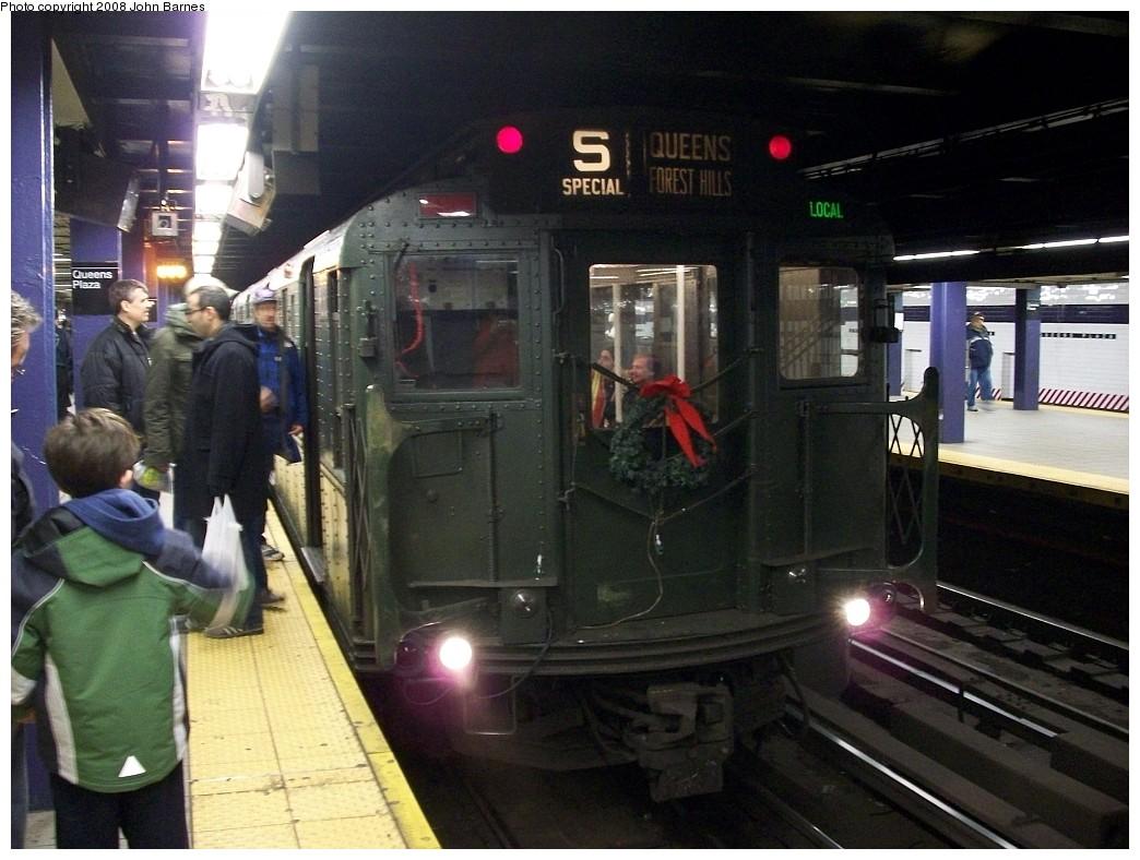 (218k, 1044x788)<br><b>Country:</b> United States<br><b>City:</b> New York<br><b>System:</b> New York City Transit<br><b>Line:</b> IND Queens Boulevard Line<br><b>Location:</b> Queens Plaza <br><b>Route:</b> Museum Train Service (V)<br><b>Car:</b> R-1 (American Car & Foundry, 1930-1931) 100 <br><b>Photo by:</b> John Barnes<br><b>Date:</b> 12/7/2008<br><b>Viewed (this week/total):</b> 1 / 1245