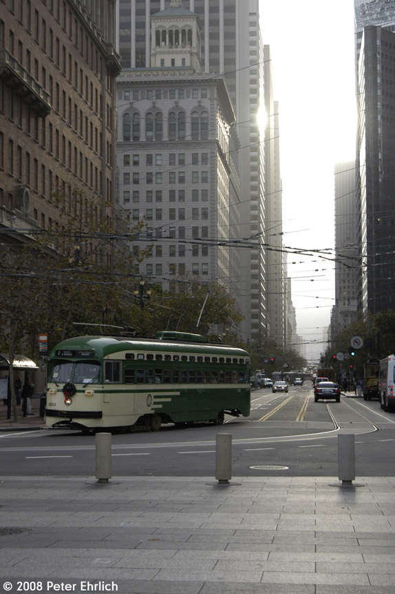 (171k, 574x864)<br><b>Country:</b> United States<br><b>City:</b> San Francisco/Bay Area, CA<br><b>System:</b> SF MUNI<br><b>Location:</b> Market/Steuart <br><b>Car:</b> SF MUNI PCC (Ex-SEPTA) (St. Louis Car Co., 1947-1948)  1050 <br><b>Photo by:</b> Peter Ehrlich<br><b>Date:</b> 12/12/2008<br><b>Notes:</b> Market/Steuart inbound.<br><b>Viewed (this week/total):</b> 1 / 510