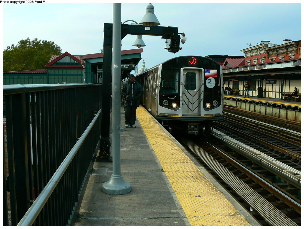 (272k, 1044x788)<br><b>Country:</b> United States<br><b>City:</b> New York<br><b>System:</b> New York City Transit<br><b>Line:</b> BMT Nassau Street/Jamaica Line<br><b>Location:</b> Marcy Avenue <br><b>Route:</b> J<br><b>Car:</b> R-160A-1 (Alstom, 2005-2008, 4 car sets)   <br><b>Photo by:</b> Paul P.<br><b>Date:</b> 11/1/2008<br><b>Viewed (this week/total):</b> 0 / 1412