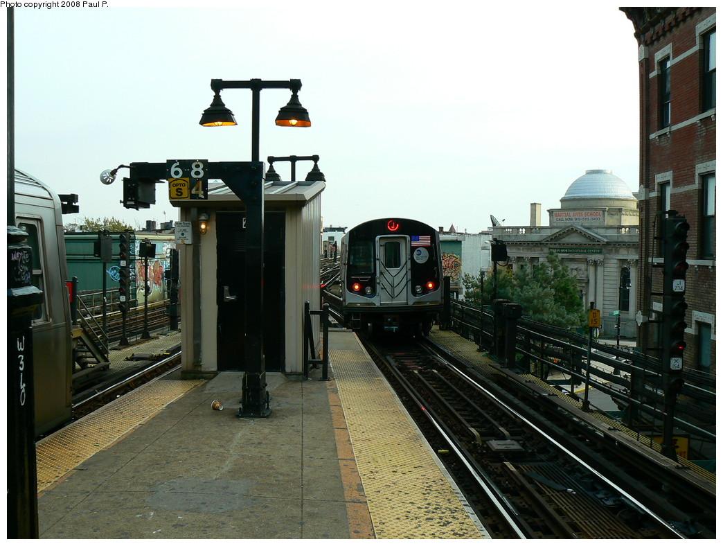 (251k, 1044x788)<br><b>Country:</b> United States<br><b>City:</b> New York<br><b>System:</b> New York City Transit<br><b>Line:</b> BMT Nassau Street/Jamaica Line<br><b>Location:</b> Myrtle Avenue <br><b>Route:</b> J<br><b>Car:</b> R-160A-1 (Alstom, 2005-2008, 4 car sets)   <br><b>Photo by:</b> Paul P.<br><b>Date:</b> 11/1/2008<br><b>Viewed (this week/total):</b> 1 / 1469