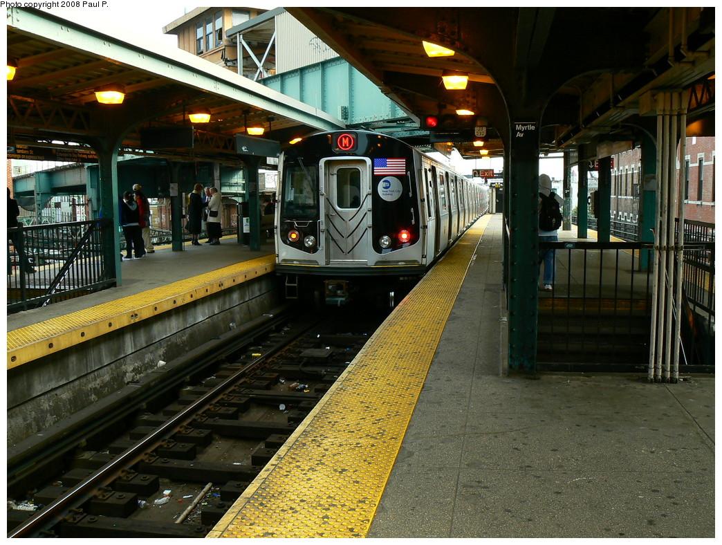 (317k, 1044x788)<br><b>Country:</b> United States<br><b>City:</b> New York<br><b>System:</b> New York City Transit<br><b>Line:</b> BMT Nassau Street/Jamaica Line<br><b>Location:</b> Myrtle Avenue <br><b>Route:</b> M<br><b>Car:</b> R-160A-1 (Alstom, 2005-2008, 4 car sets)   <br><b>Photo by:</b> Paul P.<br><b>Date:</b> 11/1/2008<br><b>Viewed (this week/total):</b> 1 / 1837