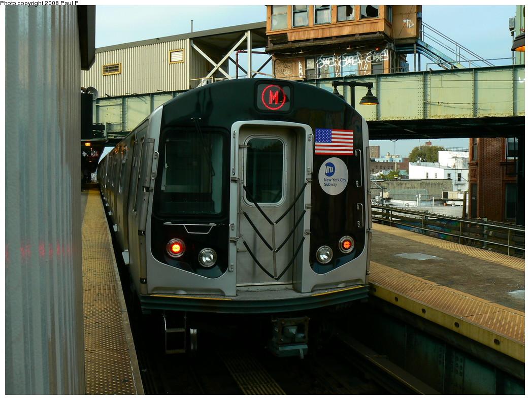 (262k, 1044x788)<br><b>Country:</b> United States<br><b>City:</b> New York<br><b>System:</b> New York City Transit<br><b>Line:</b> BMT Nassau Street/Jamaica Line<br><b>Location:</b> Myrtle Avenue <br><b>Route:</b> M<br><b>Car:</b> R-160A-1 (Alstom, 2005-2008, 4 car sets)   <br><b>Photo by:</b> Paul P.<br><b>Date:</b> 11/1/2008<br><b>Viewed (this week/total):</b> 0 / 1435