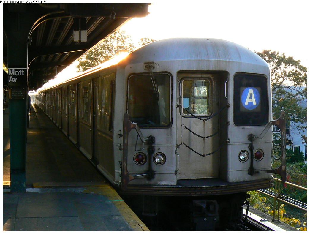 (240k, 1044x788)<br><b>Country:</b> United States<br><b>City:</b> New York<br><b>System:</b> New York City Transit<br><b>Line:</b> IND Rockaway<br><b>Location:</b> Mott Avenue/Far Rockaway <br><b>Route:</b> A<br><b>Car:</b> R-40M (St. Louis, 1969)   <br><b>Photo by:</b> Paul P.<br><b>Date:</b> 11/1/2008<br><b>Viewed (this week/total):</b> 0 / 1216