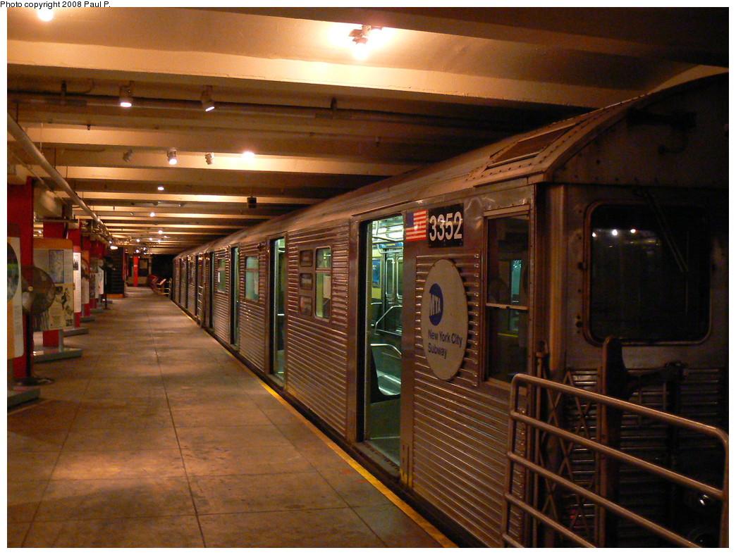 (283k, 1044x788)<br><b>Country:</b> United States<br><b>City:</b> New York<br><b>System:</b> New York City Transit<br><b>Location:</b> New York Transit Museum<br><b>Car:</b> R-32 (Budd, 1964)  3352 <br><b>Photo by:</b> Paul P.<br><b>Date:</b> 11/6/2008<br><b>Viewed (this week/total):</b> 1 / 2095