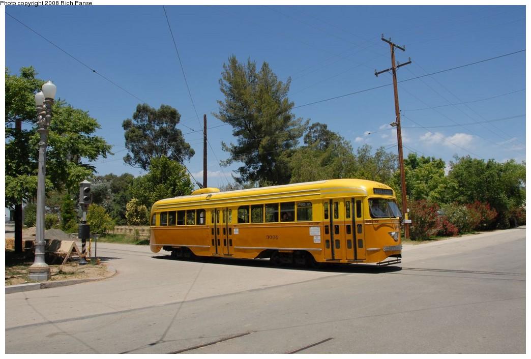 (203k, 1044x706)<br><b>Country:</b> United States<br><b>City:</b> Perris, CA<br><b>System:</b> Orange Empire Railway Museum <br><b>Car:</b> PCC  3001 <br><b>Photo by:</b> Richard Panse<br><b>Date:</b> 6/15/2008<br><b>Viewed (this week/total):</b> 6 / 1453