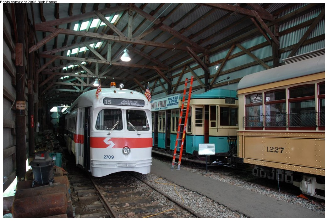 (227k, 1044x706)<br><b>Country:</b> United States<br><b>City:</b> Kennebunk, ME<br><b>System:</b> Seashore Trolley Museum <br><b>Car:</b> PTC/SEPTA Postwar All-electric PCC (St.Louis, 1947)  2709 <br><b>Photo by:</b> Richard Panse<br><b>Date:</b> 7/18/2008<br><b>Viewed (this week/total):</b> 1 / 1046