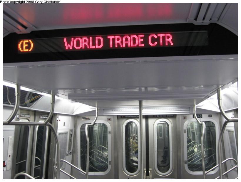 (117k, 820x620)<br><b>Country:</b> United States<br><b>City:</b> New York<br><b>System:</b> New York City Transit<br><b>Route:</b> E<br><b>Car:</b> R-160A (Option 1) (Alstom, 2008-2009, 5 car sets)  Interior <br><b>Photo by:</b> Gary Chatterton<br><b>Date:</b> 12/23/2008<br><b>Viewed (this week/total):</b> 0 / 1563
