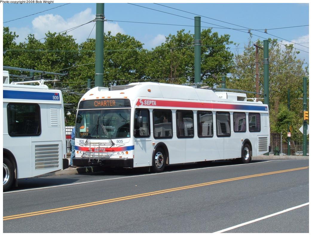 (271k, 1044x788)<br><b>Country:</b> United States<br><b>City:</b> Philadelphia, PA<br><b>System:</b> SEPTA (or Predecessor)<br><b>Line:</b> SEPTA Trackless Trolley Routes<br><b>Car:</b> SEPTA New Flyer E40LF Trackless (2007) 805 <br><b>Photo by:</b> Bob Wright<br><b>Date:</b> 2008<br><b>Viewed (this week/total):</b> 1 / 837