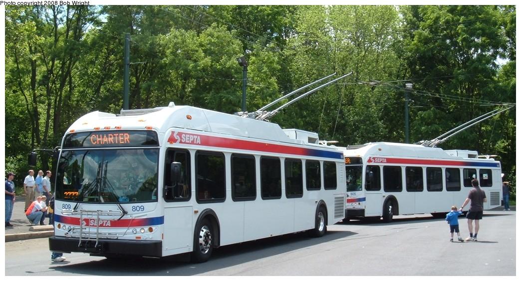 (208k, 1044x563)<br><b>Country:</b> United States<br><b>City:</b> Philadelphia, PA<br><b>System:</b> SEPTA (or Predecessor)<br><b>Line:</b> SEPTA Trackless Trolley Routes<br><b>Car:</b> SEPTA New Flyer E40LF Trackless (2007) 809 <br><b>Photo by:</b> Bob Wright<br><b>Date:</b> 2008<br><b>Viewed (this week/total):</b> 1 / 1431
