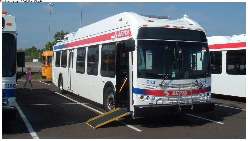 (128k, 1044x597)<br><b>Country:</b> United States<br><b>City:</b> Philadelphia, PA<br><b>System:</b> SEPTA (or Predecessor)<br><b>Line:</b> SEPTA Trackless Trolley Routes<br><b>Car:</b> SEPTA New Flyer E40LF Trackless (2007) 834 <br><b>Photo by:</b> Bob Wright<br><b>Date:</b> 2008<br><b>Viewed (this week/total):</b> 0 / 914