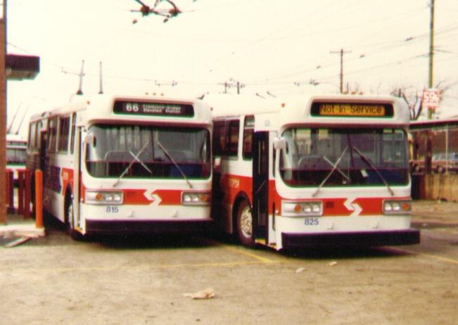 (223k, 651x462)<br><b>Country:</b> United States<br><b>City:</b> Philadelphia, PA<br><b>System:</b> SEPTA (or Predecessor)<br><b>Line:</b> SEPTA Trackless Trolley Routes<br><b>Car:</b> PTC/SEPTA AM General 10240-E Trackless (1979) 815/825 <br><b>Photo by:</b> Bob Wright<br><b>Date:</b> 1980<br><b>Viewed (this week/total):</b> 0 / 691