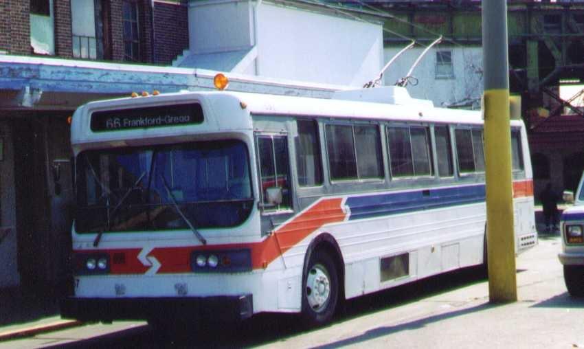 (122k, 850x508)<br><b>Country:</b> United States<br><b>City:</b> Philadelphia, PA<br><b>System:</b> SEPTA (or Predecessor)<br><b>Line:</b> SEPTA Trackless Trolley Routes<br><b>Car:</b> PTC/SEPTA AM General 10240-E Trackless (1979) 8x7 <br><b>Photo by:</b> Bob Wright<br><b>Date:</b> 1995<br><b>Viewed (this week/total):</b> 0 / 966