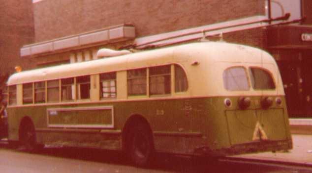 (56k, 634x353)<br><b>Country:</b> United States<br><b>City:</b> Philadelphia, PA<br><b>System:</b> SEPTA (or Predecessor)<br><b>Line:</b> SEPTA Trackless Trolley Routes<br><b>Car:</b> PTC/SEPTA ACF-Brill TC-44 Trackless (1947)  213 <br><b>Photo by:</b> Bob Wright<br><b>Date:</b> 1979<br><b>Viewed (this week/total):</b> 4 / 1005
