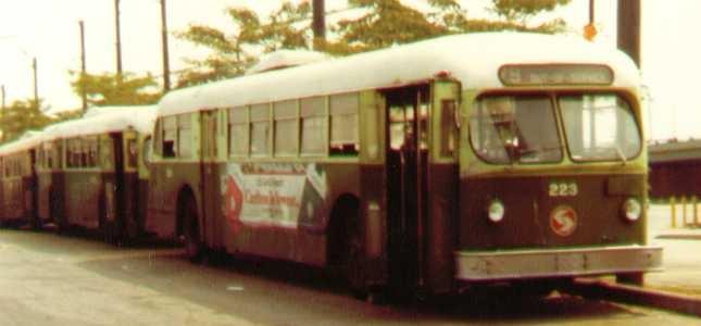 (59k, 645x300)<br><b>Country:</b> United States<br><b>City:</b> Philadelphia, PA<br><b>System:</b> SEPTA (or Predecessor)<br><b>Line:</b> SEPTA Trackless Trolley Routes<br><b>Car:</b> PTC/SEPTA ACF-Brill TC-44 Trackless (1947)  223 <br><b>Photo by:</b> Bob Wright<br><b>Date:</b> 1981<br><b>Viewed (this week/total):</b> 0 / 1145