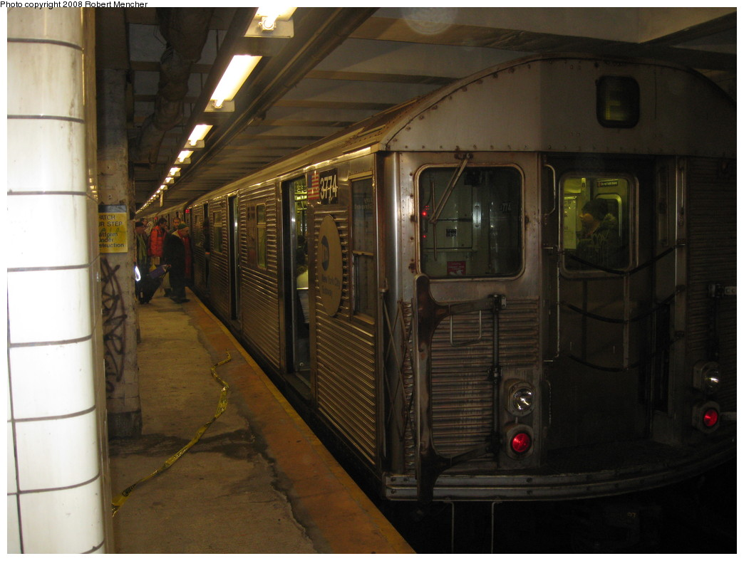 (185k, 1044x788)<br><b>Country:</b> United States<br><b>City:</b> New York<br><b>System:</b> New York City Transit<br><b>Line:</b> IND 8th Avenue Line<br><b>Location:</b> Jay St./Metrotech (Borough Hall) <br><b>Route:</b> F<br><b>Car:</b> R-32 (Budd, 1964)  3774 <br><b>Photo by:</b> Robert Mencher<br><b>Date:</b> 12/27/2008<br><b>Viewed (this week/total):</b> 0 / 1716