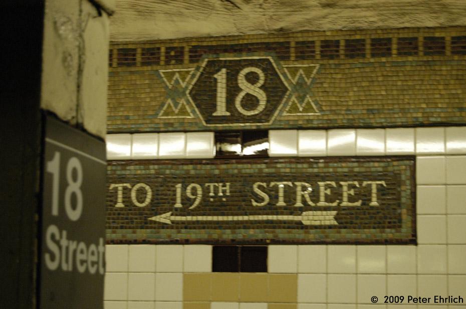 (184k, 930x618)<br><b>Country:</b> United States<br><b>City:</b> New York<br><b>System:</b> New York City Transit<br><b>Line:</b> IRT West Side Line<br><b>Location:</b> 18th Street <br><b>Photo by:</b> Peter Ehrlich<br><b>Date:</b> 7/29/2009<br><b>Notes:</b> Tilework.<br><b>Viewed (this week/total):</b> 0 / 925