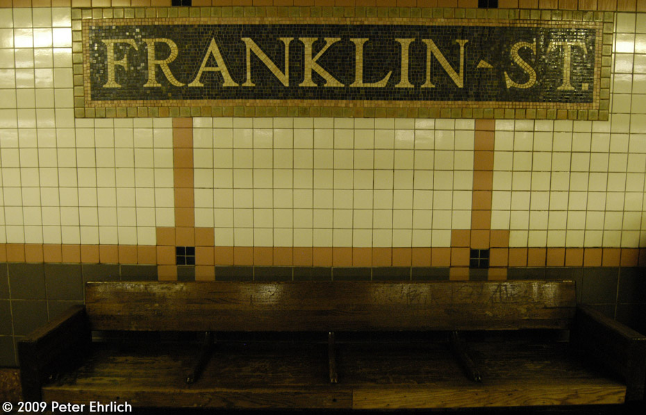(194k, 930x598)<br><b>Country:</b> United States<br><b>City:</b> New York<br><b>System:</b> New York City Transit<br><b>Line:</b> IRT West Side Line<br><b>Location:</b> Franklin Street <br><b>Photo by:</b> Peter Ehrlich<br><b>Date:</b> 7/29/2009<br><b>Notes:</b> Tilework.<br><b>Viewed (this week/total):</b> 0 / 777