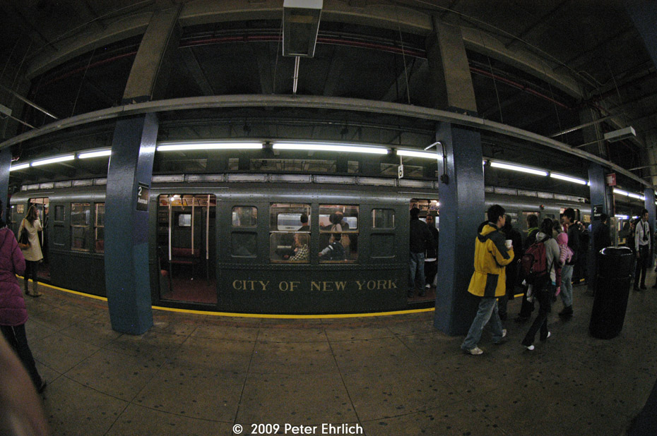 (215k, 930x618)<br><b>Country:</b> United States<br><b>City:</b> New York<br><b>System:</b> New York City Transit<br><b>Line:</b> IND 6th Avenue Line<br><b>Location:</b> 2nd Avenue <br><b>Route:</b> Museum Train Service (V)<br><b>Car:</b> R-6-1 (Pressed Steel, 1936)  1300 <br><b>Photo by:</b> Peter Ehrlich<br><b>Date:</b> 12/28/2008<br><b>Viewed (this week/total):</b> 0 / 1391