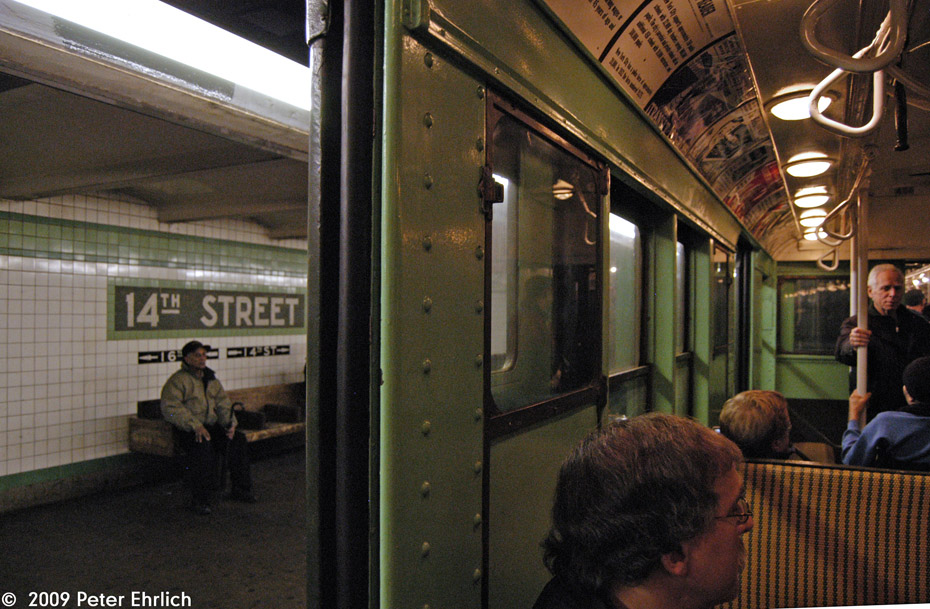 (230k, 930x609)<br><b>Country:</b> United States<br><b>City:</b> New York<br><b>System:</b> New York City Transit<br><b>Line:</b> IND 6th Avenue Line<br><b>Location:</b> 14th Street <br><b>Route:</b> Museum Train Service (V)<br><b>Car:</b> R-4 (American Car & Foundry, 1932-1933) 484 <br><b>Photo by:</b> Peter Ehrlich<br><b>Date:</b> 12/28/2008<br><b>Viewed (this week/total):</b> 1 / 1777