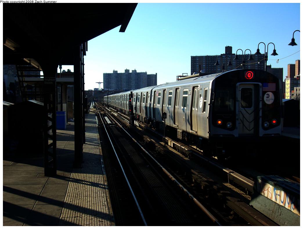 (228k, 1044x788)<br><b>Country:</b> United States<br><b>City:</b> New York<br><b>System:</b> New York City Transit<br><b>Line:</b> BMT Brighton Line<br><b>Location:</b> Brighton Beach <br><b>Route:</b> Q<br><b>Car:</b> R-160B (Kawasaki, 2005-2008)  8897 <br><b>Photo by:</b> Zach Summer<br><b>Date:</b> 12/25/2008<br><b>Viewed (this week/total):</b> 0 / 1304