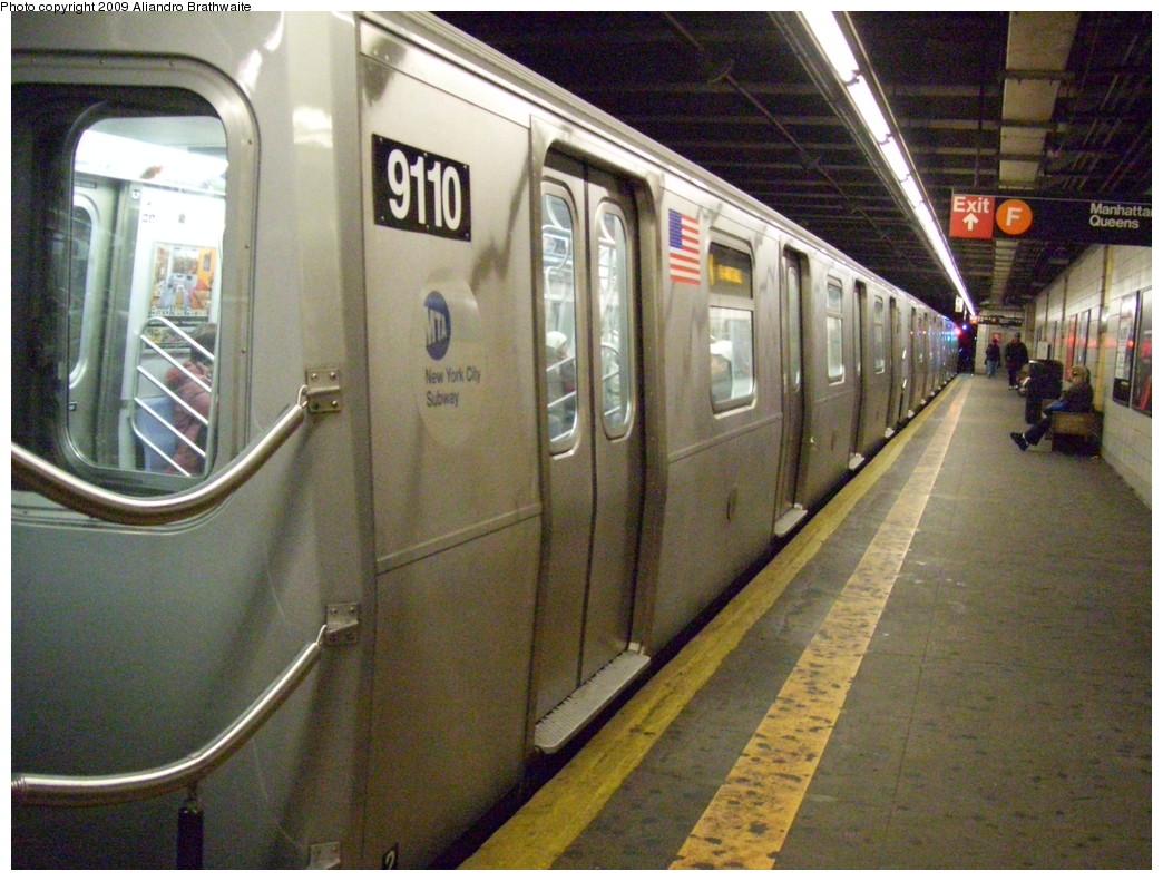 (263k, 1044x791)<br><b>Country:</b> United States<br><b>City:</b> New York<br><b>System:</b> New York City Transit<br><b>Line:</b> BMT 4th Avenue<br><b>Location:</b> 9th Street <br><b>Route:</b> N<br><b>Car:</b> R-160B (Option 1) (Kawasaki, 2008-2009)  9110 <br><b>Photo by:</b> Aliandro Brathwaite<br><b>Date:</b> 12/20/2008<br><b>Viewed (this week/total):</b> 3 / 2398