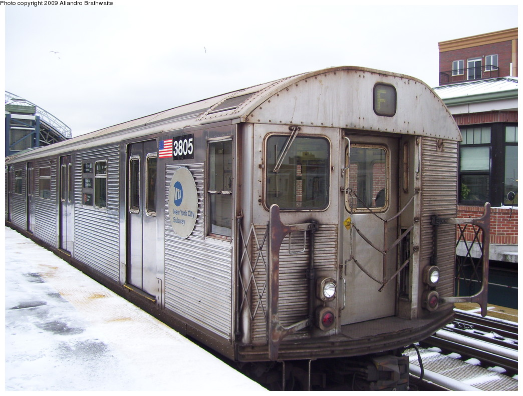 (239k, 1044x791)<br><b>Country:</b> United States<br><b>City:</b> New York<br><b>System:</b> New York City Transit<br><b>Location:</b> Coney Island/Stillwell Avenue<br><b>Route:</b> F<br><b>Car:</b> R-32 (Budd, 1964)  3805 <br><b>Photo by:</b> Aliandro Brathwaite<br><b>Date:</b> 12/20/2008<br><b>Viewed (this week/total):</b> 0 / 1401