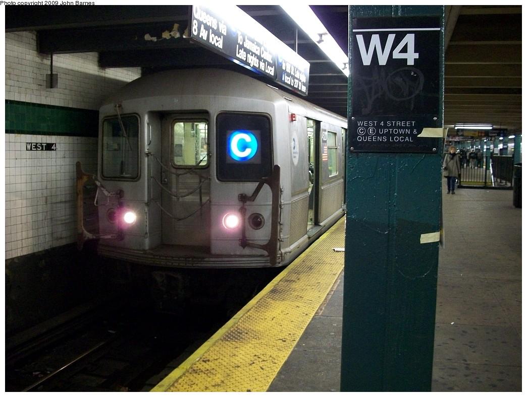 (221k, 1044x788)<br><b>Country:</b> United States<br><b>City:</b> New York<br><b>System:</b> New York City Transit<br><b>Line:</b> IND 8th Avenue Line<br><b>Location:</b> West 4th Street/Washington Square <br><b>Route:</b> C<br><b>Car:</b> R-40M (St. Louis, 1969)  4520 <br><b>Photo by:</b> John Barnes<br><b>Date:</b> 12/13/2008<br><b>Viewed (this week/total):</b> 1 / 1878