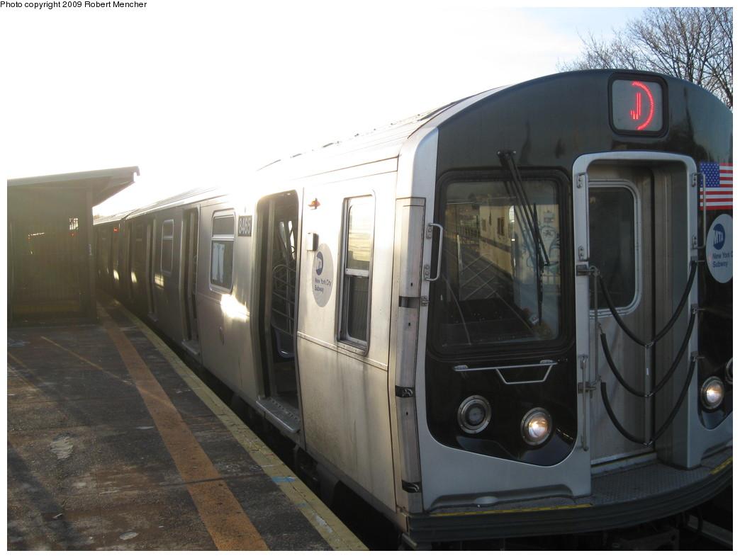 (169k, 1044x788)<br><b>Country:</b> United States<br><b>City:</b> New York<br><b>System:</b> New York City Transit<br><b>Line:</b> BMT Nassau Street/Jamaica Line<br><b>Location:</b> Cypress Hills <br><b>Route:</b> J<br><b>Car:</b> R-160A-1 (Alstom, 2005-2008, 4 car sets)  8465 <br><b>Photo by:</b> Robert Mencher<br><b>Date:</b> 1/4/2009<br><b>Viewed (this week/total):</b> 1 / 1592