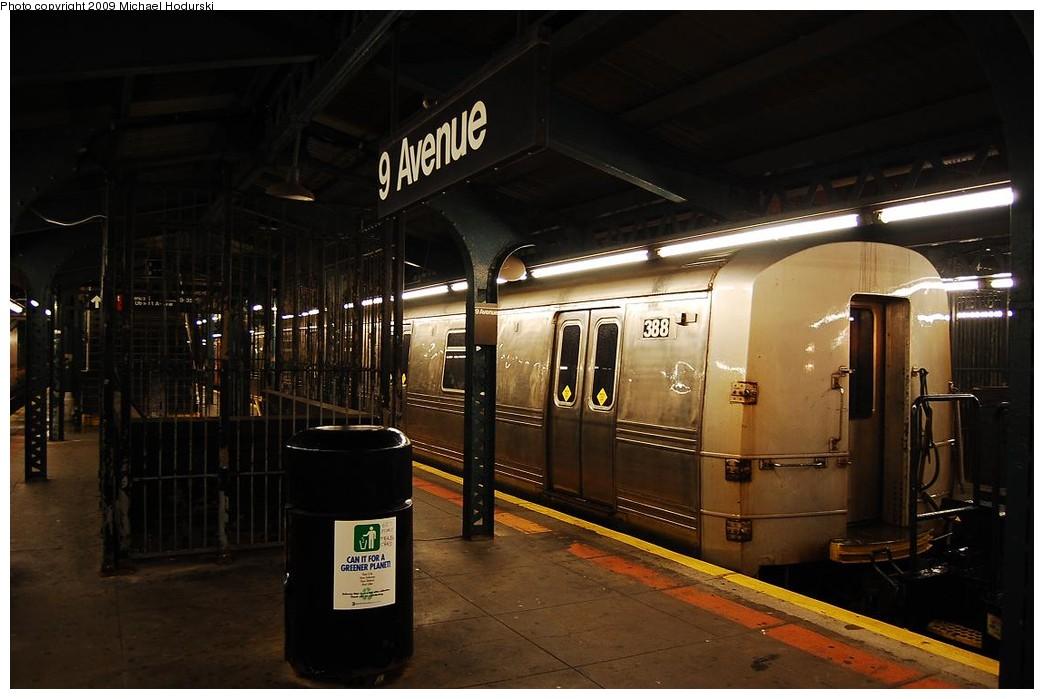 (190k, 1044x699)<br><b>Country:</b> United States<br><b>City:</b> New York<br><b>System:</b> New York City Transit<br><b>Line:</b> BMT West End Line<br><b>Location:</b> 9th Avenue <br><b>Car:</b> R-44 SIRT (St. Louis, 1971-1973) 388 <br><b>Photo by:</b> Michael Hodurski<br><b>Date:</b> 9/30/2008<br><b>Notes:</b> SBK N2 towing SIRT R44 388 to Coney Island Overhaul Shops.<br><b>Viewed (this week/total):</b> 0 / 1933