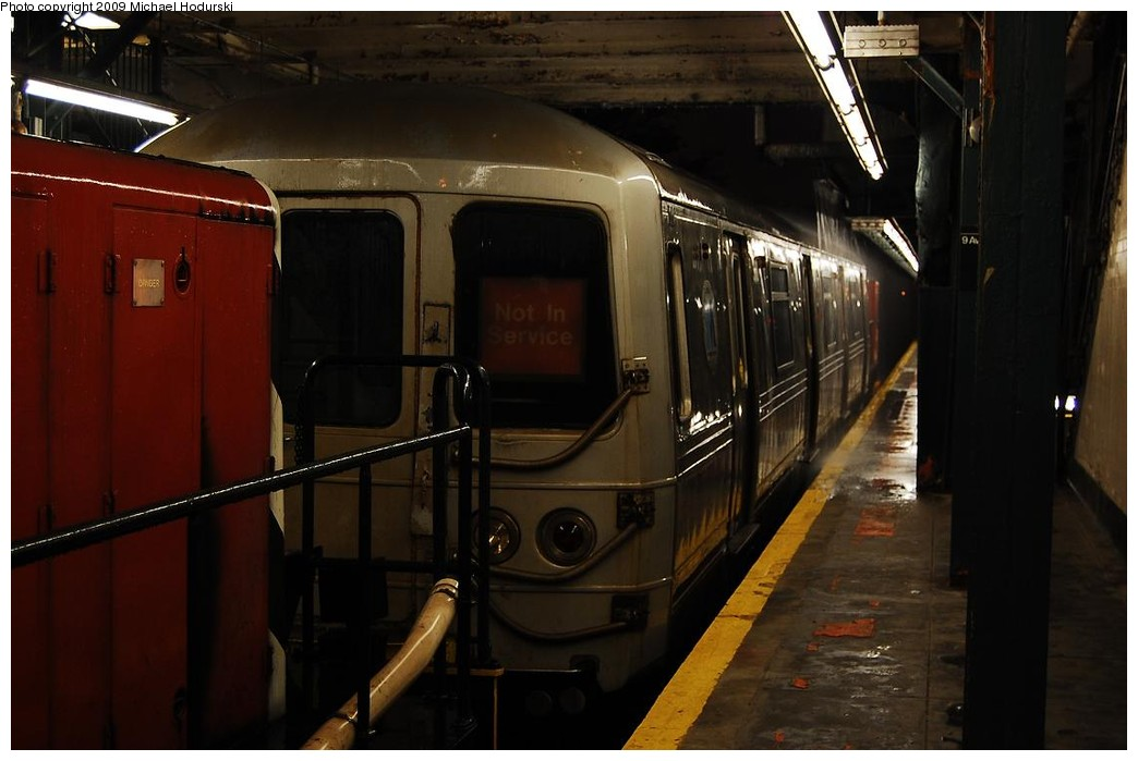 (173k, 1044x699)<br><b>Country:</b> United States<br><b>City:</b> New York<br><b>System:</b> New York City Transit<br><b>Line:</b> BMT West End Line<br><b>Location:</b> 9th Avenue <br><b>Car:</b> R-44 SIRT (St. Louis, 1971-1973) 388 <br><b>Photo by:</b> Michael Hodurski<br><b>Date:</b> 9/30/2008<br><b>Notes:</b> SBK N2 towing SIRT R44 388 to Coney Island Overhaul Shops.<br><b>Viewed (this week/total):</b> 1 / 1697