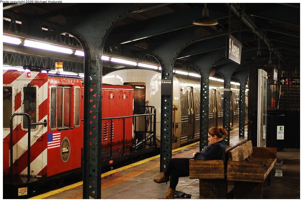 (241k, 1044x699)<br><b>Country:</b> United States<br><b>City:</b> New York<br><b>System:</b> New York City Transit<br><b>Line:</b> BMT West End Line<br><b>Location:</b> 9th Avenue <br><b>Car:</b> R-44 SIRT (St. Louis, 1971-1973) 388 <br><b>Photo by:</b> Michael Hodurski<br><b>Date:</b> 9/30/2008<br><b>Notes:</b> SBK N2 towing SIRT R44 388 to Coney Island Overhaul Shops.<br><b>Viewed (this week/total):</b> 12 / 1708